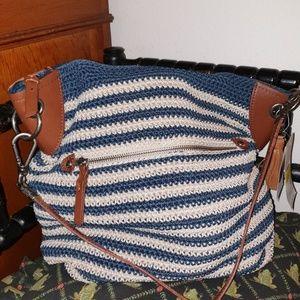 The Sak Crochet HoBo Bag Indigo/Natural Beige NWT